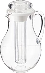 Winco Polycarbonate Water Pitcher with Ice Tube Core, 2-Quart