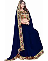 SareeShop Women's Clothing Saree Collection in Multi-Coloured Georgette Material For Women Party Wear,Wedding,Casual sarees Offer Latest Design Wear Sarees With Blouse Piece (Navy Blue)