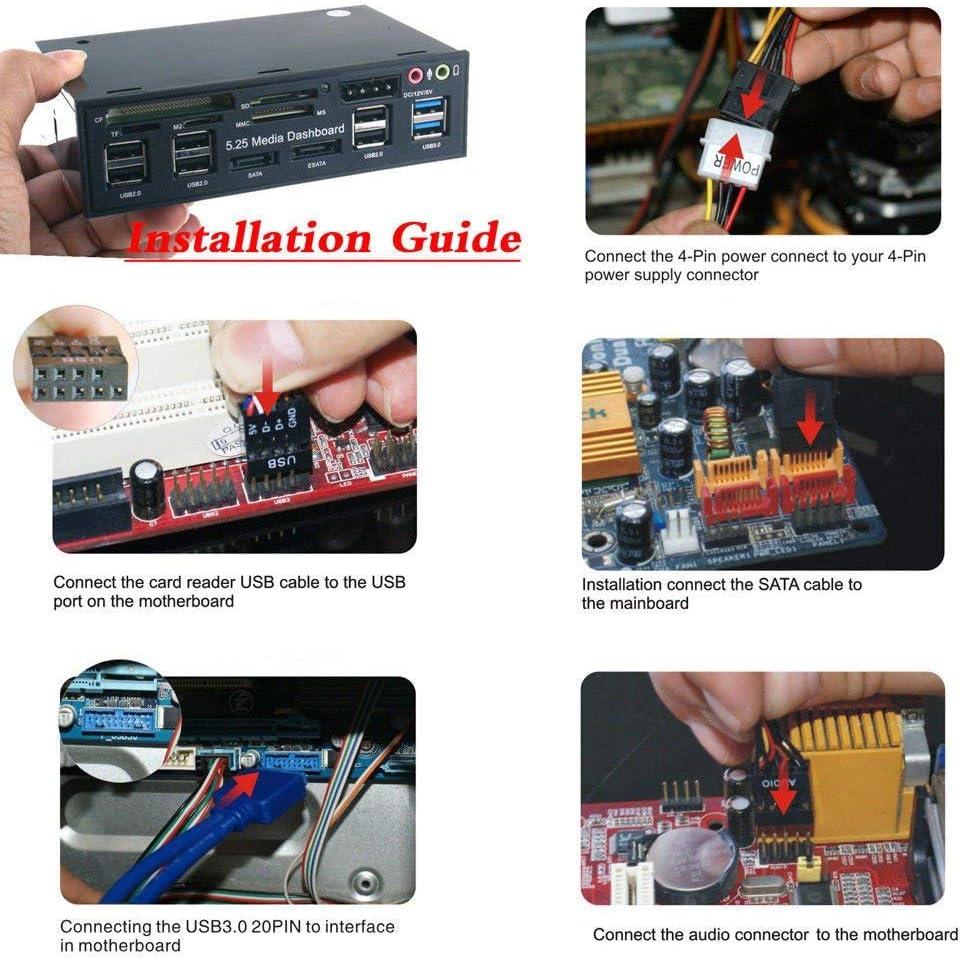 MeterMall Funny for USB 3.0 Hub Multi-Function eSATA SATA Port Internal Card Reader PC Media Front Panel Audio for SD MS CF TF M2 MMC Memory Cards