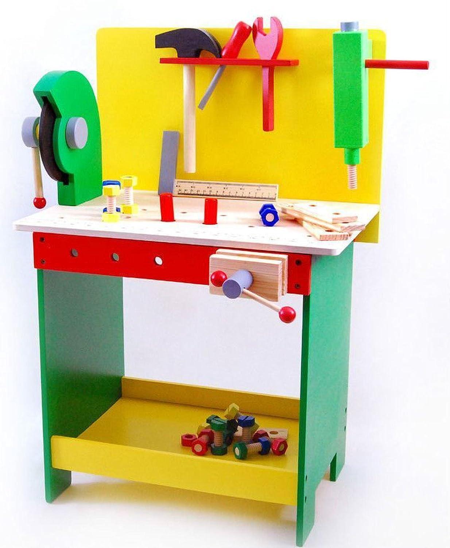 Turbo Kinder Werkbank aus Holz mit Werkzeug Holzwerkbank Kinderwerkbank  BQ92