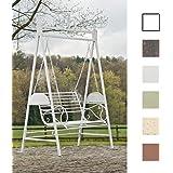 CLP 2 Places / 3 Places Balancelle de jardin AIMEE dans un style nostalgique, en fer laqué trés élégant, 3 couleurs au choix blanc antique