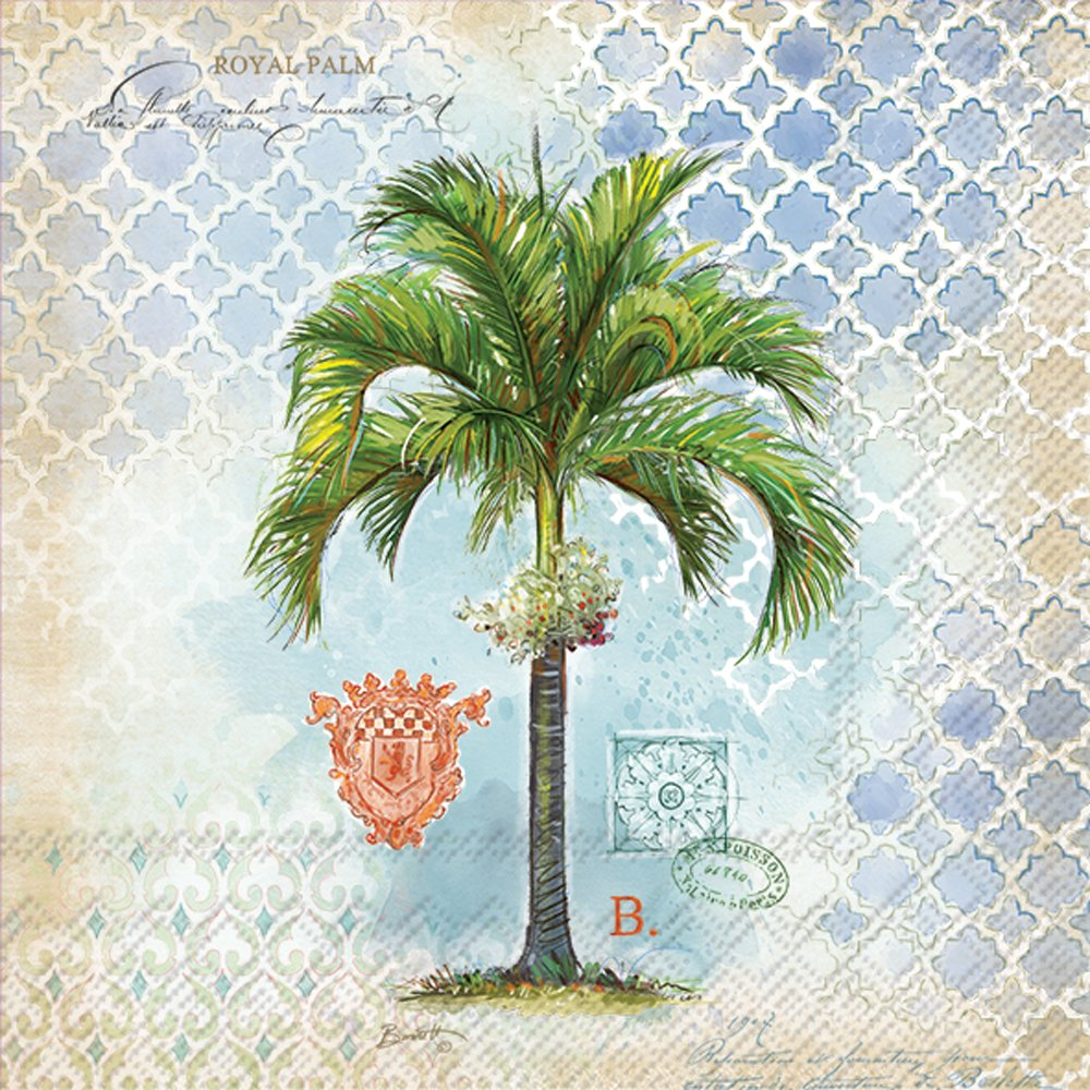 Celebrate the Home Vintage Tropical 3-Ply Paper Luncheon Napkins, Royal Palm, 20-Count