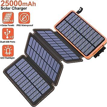 Hiluckey Cargador Solar 25000mAh Portátil Power Bank con 4 Paneles ...