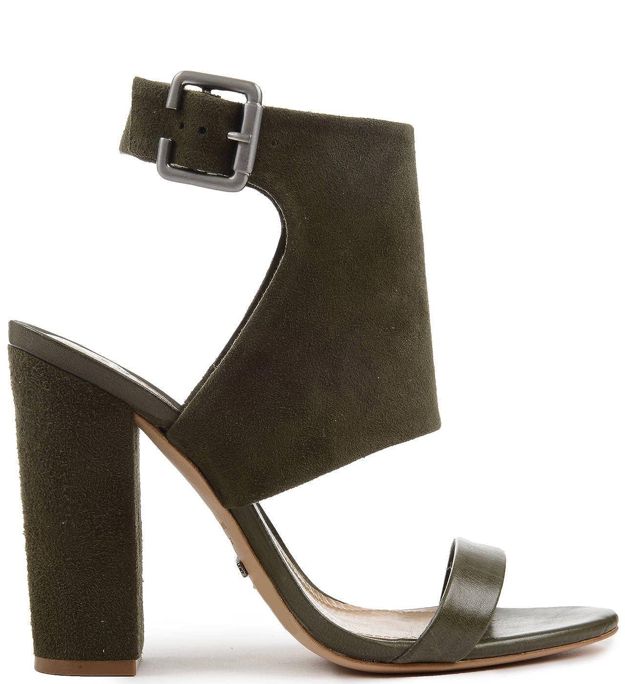 SCHUTZ Rosina Leaf Kid Suede Olive Green Block Heel Bootie Open Toe Dress Sandal