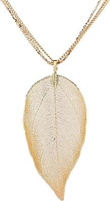 Joyer/ía de Naturaleza para Mujer Collar Original con Colgante de Hoja Natural