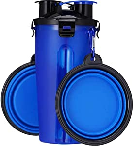Xiangye Dog Water Bottle Dog Bowls for Traveling, Pet Food Container 2-in-1 with Portable Dog Bowls, Outdoor Dog Water Bowls(Blue)