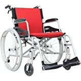 "Hi-Fortune 21 lbs Lightweight Medical Self-Propelled Manual Wheelchair with Full length Padded Armrests and Hand Brakes, Portable and Folding with Magnesium Alloy, 17.5"" Seat, Red"