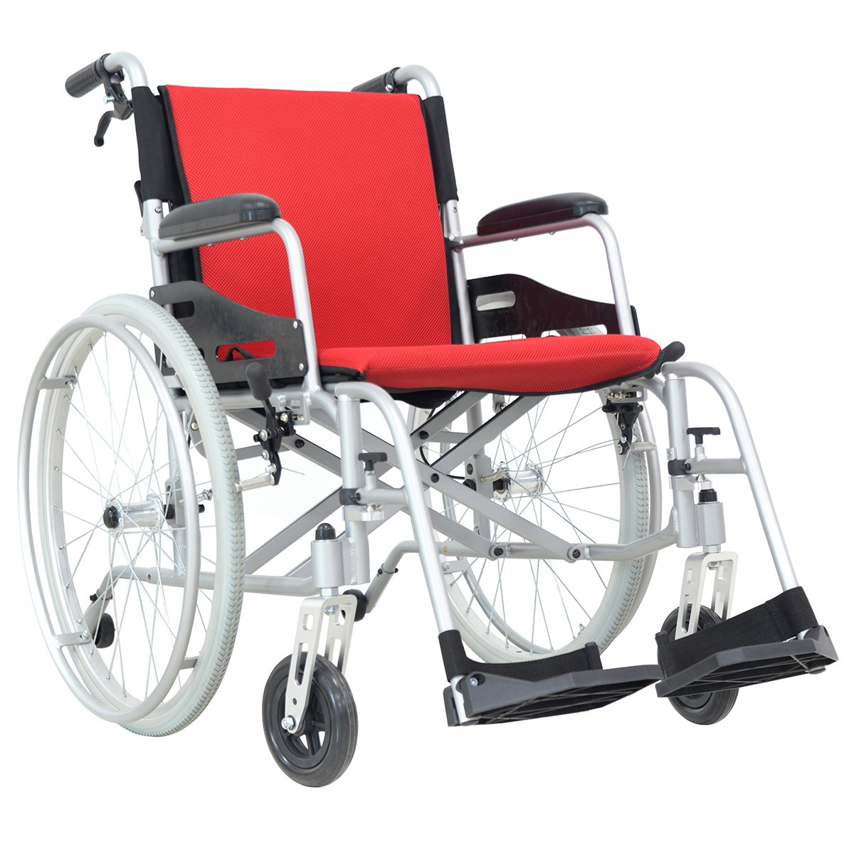 Hi-Fortune 21 lbs Lightweight Medical Self-Propelled Manual Wheelchair with Full length Padded Armrests and Hand Brakes, Portable and Folding with Magnesium Alloy, 17.5'' Seat, Red