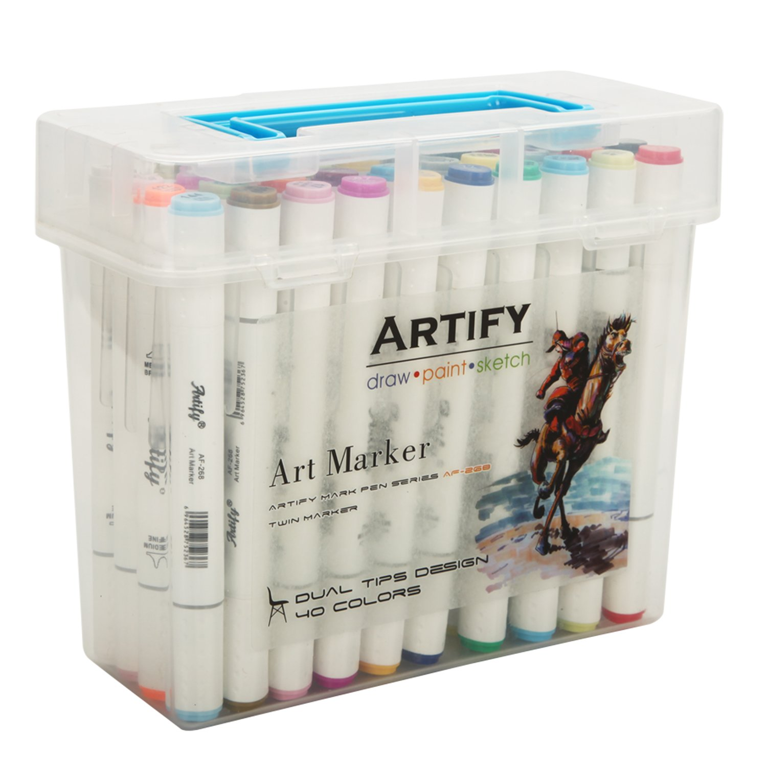 Artify Artist Alcohol Based Art Marker Set/40 Colors Dual Tipped Twin Marker Pens with Plastic Carrying Case/AP Certified