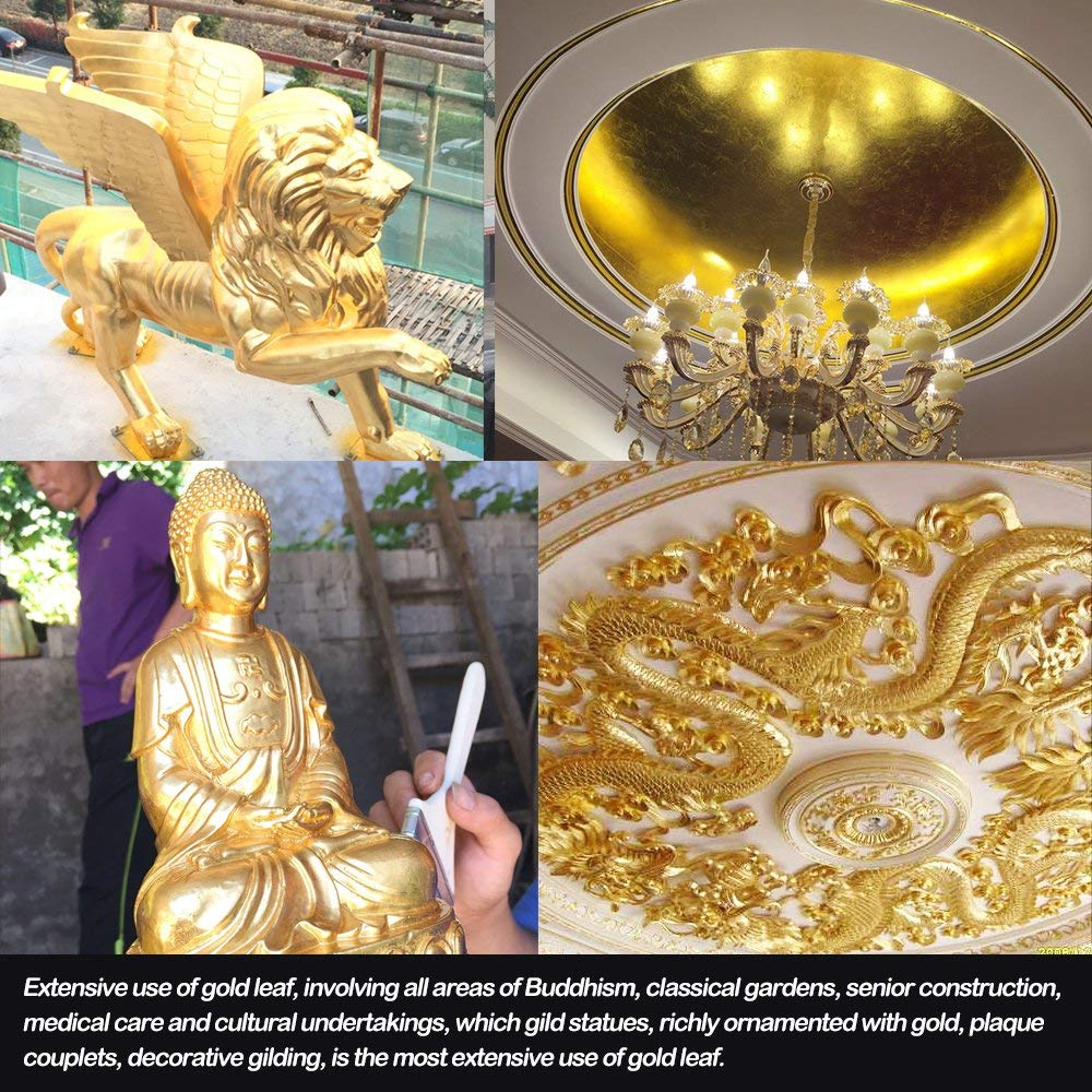 10pcs Pure 24K Edible Gold Leaf Sheets for Cooking Framing Art Craft Decorating (1000) by 4G-kitty (Image #5)