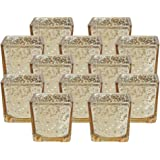 "Just Artifacts Mercury Glass Square Votive Candle Holder 2.25""H (12pcs, Speckled Gold) - Mercury Glass Votive Tealight Candle Holders for Weddings, Parties and Home Décor"