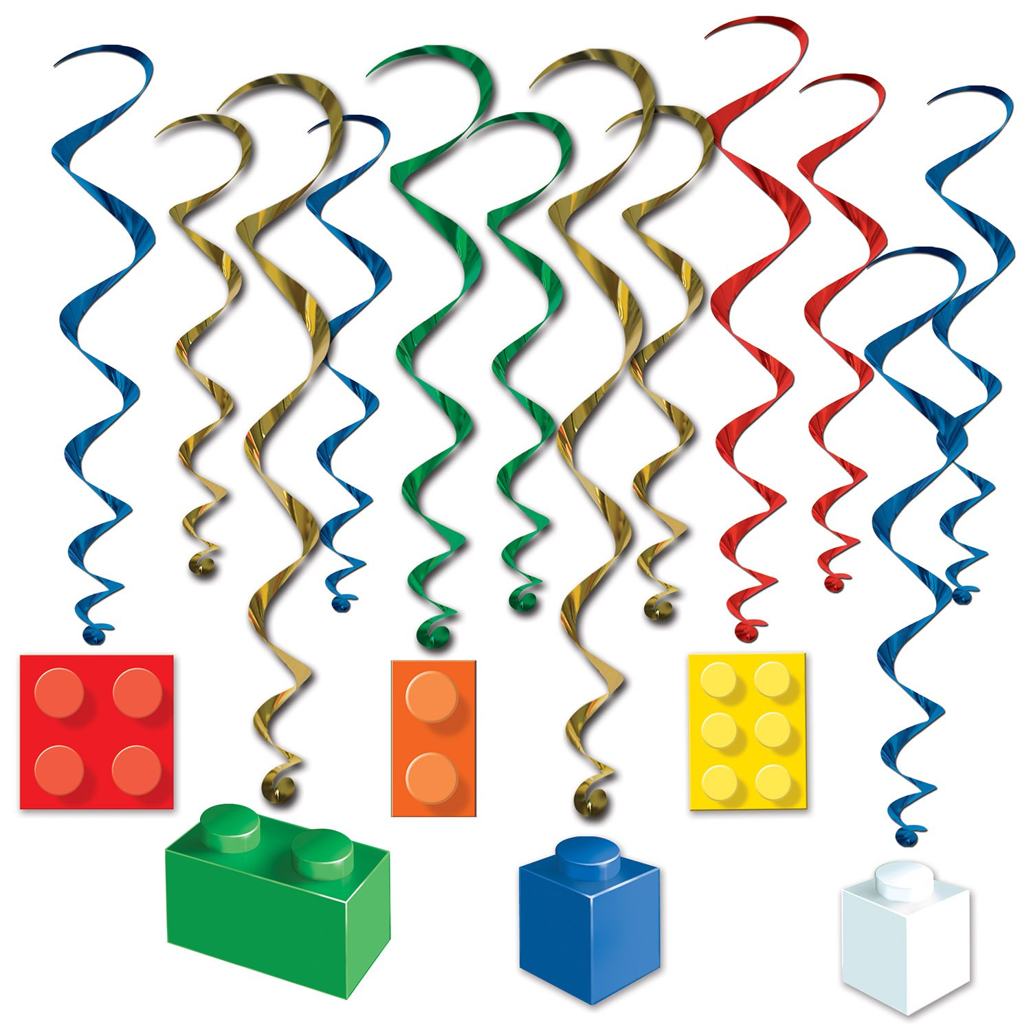 Beistle Building Block Whirls | Block Party Birthday Theme Party Decorations (3-Pack)