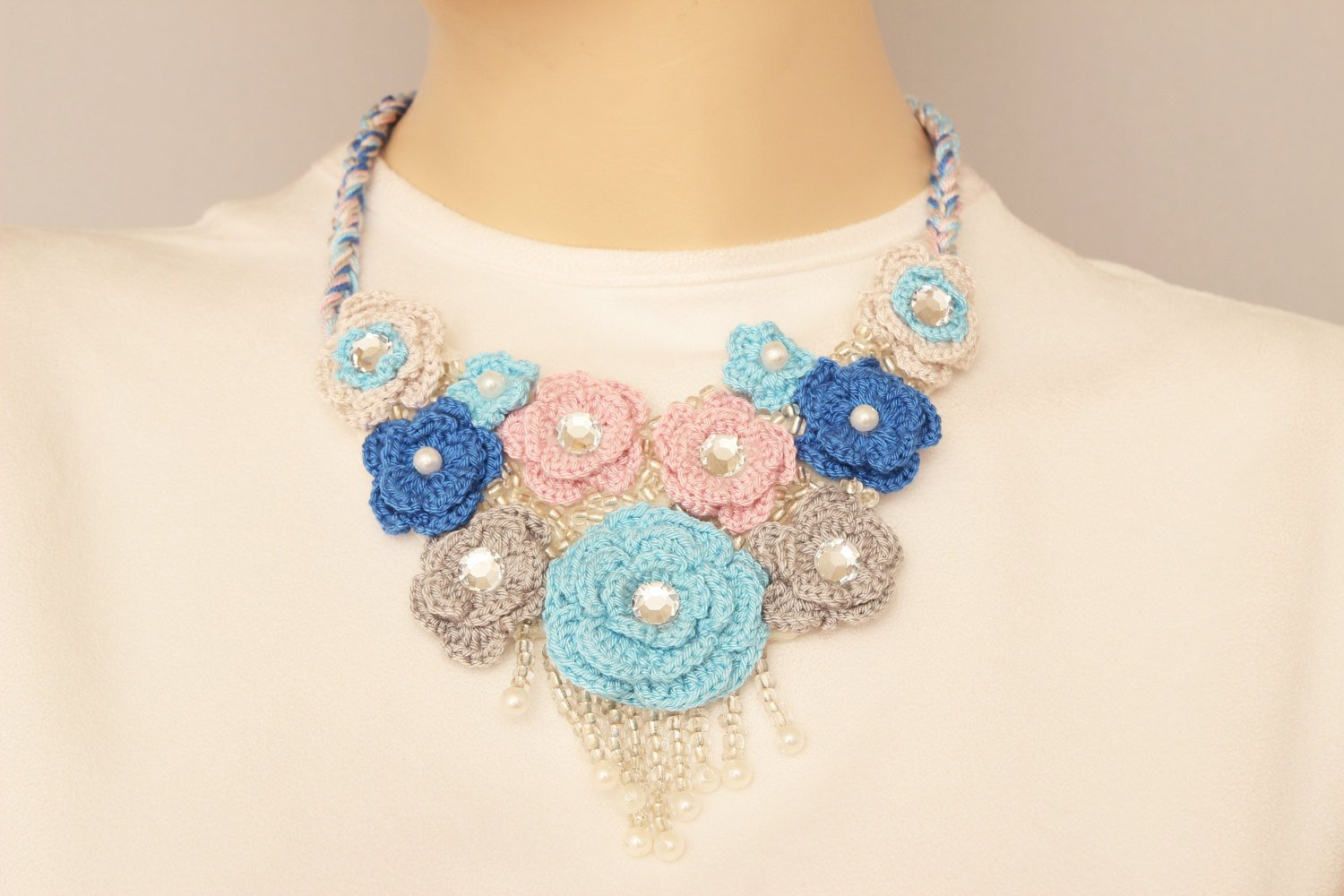 Crochet Necklace Statement Necklace Oya Necklace Bip Necklace
