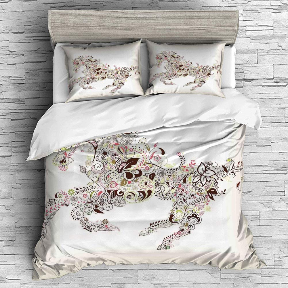 Cotton Bedding Sets Duvet Cover with Pillowcases Printed Comforter Cover Sets(King Size) Abstract Home Decor,Abstract Floral Horse Flower Leaf Ornamental Paisley Pattern Swirl Artwork Decorative,