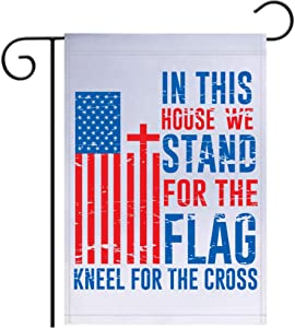 "LiberTee Shirts in This House We Stand for The Flag and Kneel for The Cross Garden Flag | 12""x18"" Proud Conservative and Patriotic Yard Sign Showing Support for Your Country and Anthem"
