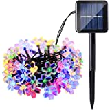 Qedertek Solar String Lights, Cherry Blossom 22ft 50 LED Waterproof Outdoor Decoration Lighting for Indoor/Outdoor, Patio, Lawn, Garden, Christmas, and Holiday Festivals (Multi-color)
