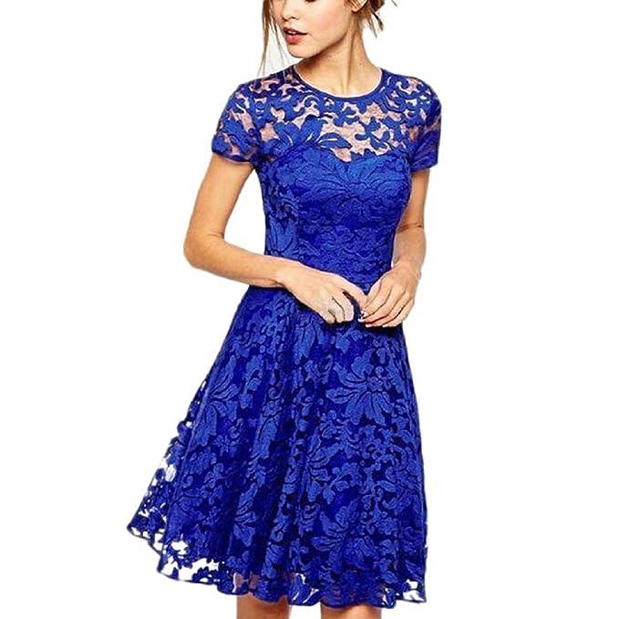 Ouneed Mujer Vintage Vestido de Encaje Floral Vestido de Fiesta Casual (S, Azul)