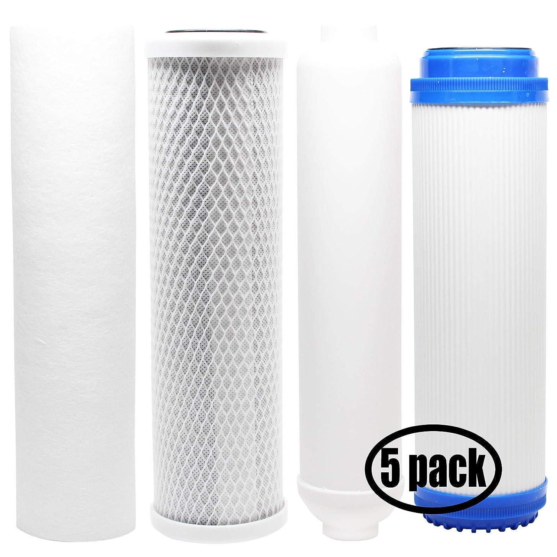 5unidades de repuesto Kit de filtros para iSpring rcc7ak Ro sistema–incluye filtro de bloque de carbón, PP filtro de sedimentos, GAC Filtro en línea filtro cartucho láser–Denali Pure marca