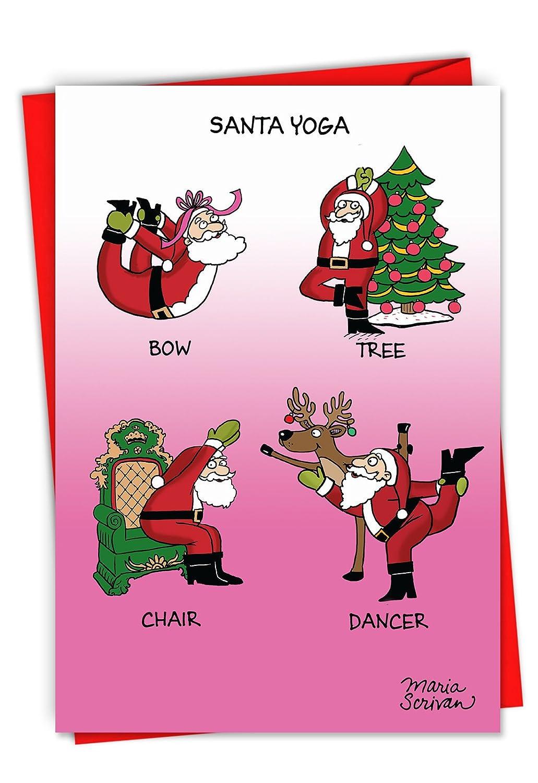 Amazon.com : C6238XSG-B12x1 Box Set of 12 \'Santa Yoga\' Funny ...
