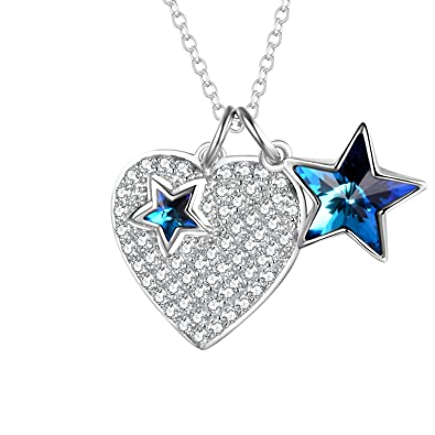 ae59ac98da0 AOBOCO Love Heart Pendant Necklace 925 Sterling Silver Crystals Paved Heart  with Blue Star Swarovski Crystals