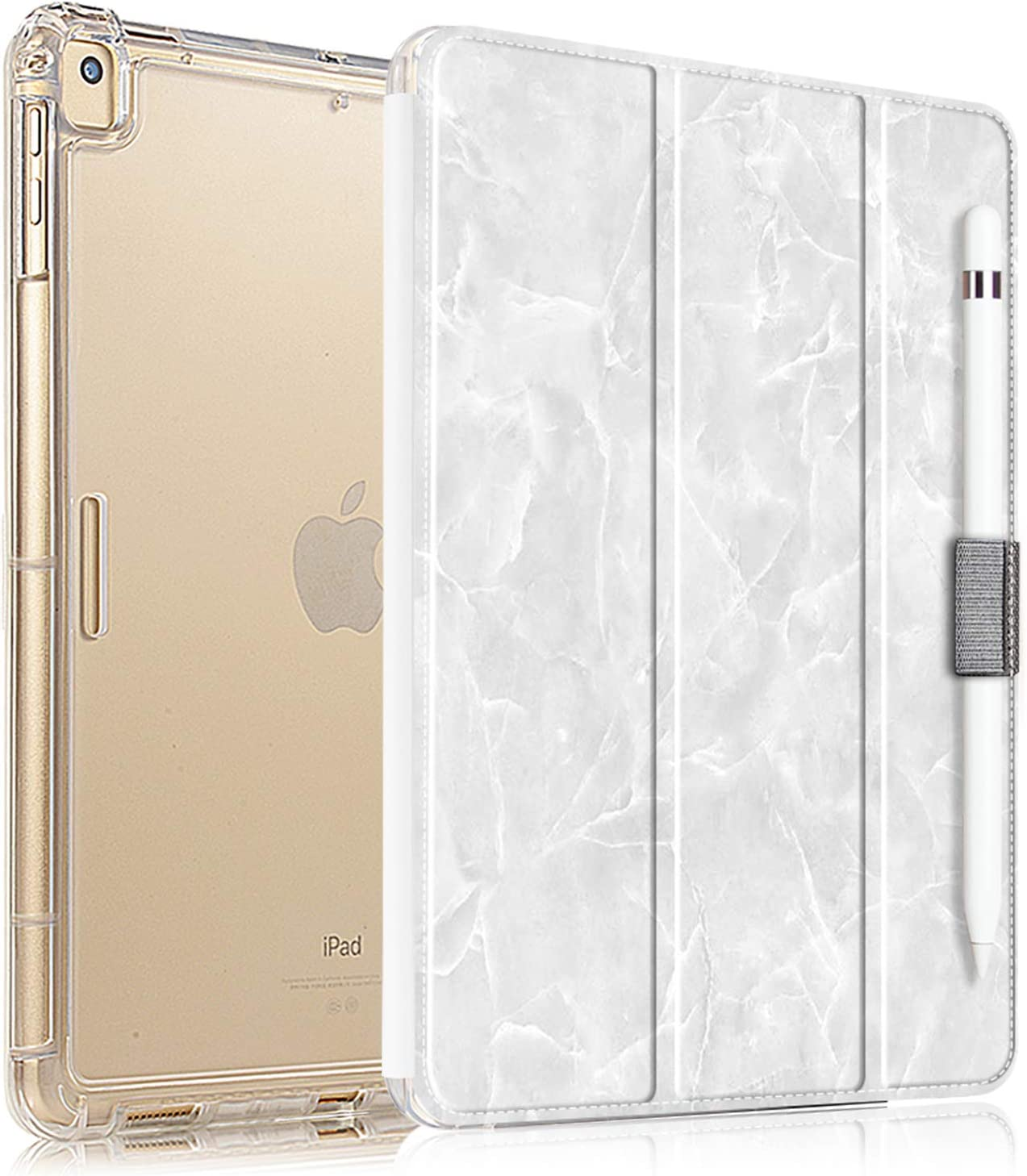 Valkit iPad 9.7 Case 2018 iPad 6th Generation / 2017 iPad 5th Generation Case, iPad Air Case, iPad Air 2 Case - Slim Stand Case with Translucent Frosted Back Cover for iPad 9.7 Inch White Marble