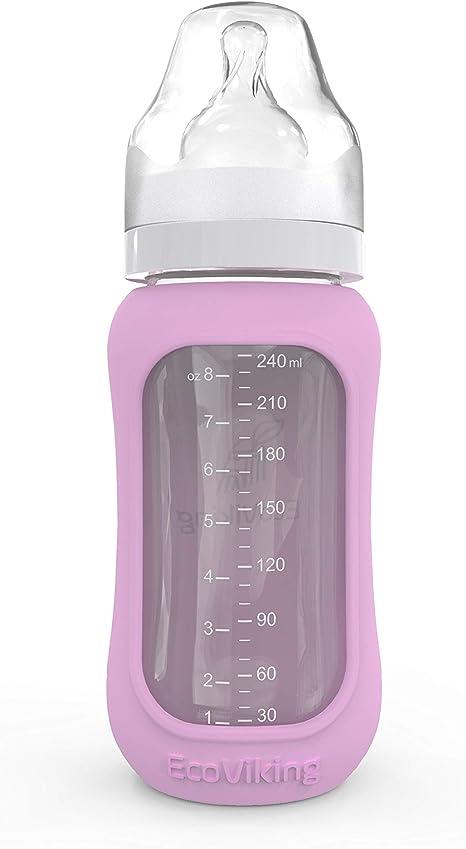 Ecoviking - Botellas de cristal para bebé (240 ml, con funda de ...