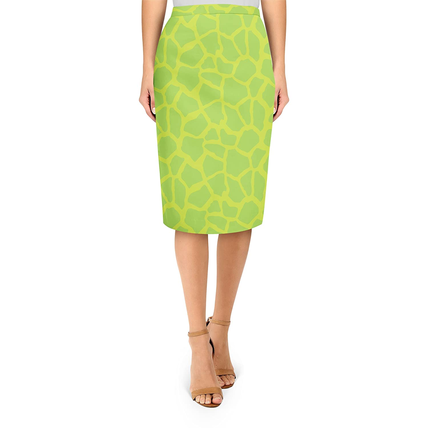 Giraffe Print Bright Green Midi Pencil Skirt