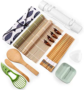 Bernito Sushi Making Kit, 17 PCS Sushi Bazooka Maker with Bamboo Sushi Rolling Mats, Bamboo Chopsticks, Paddle, Spreader, Chopsticks Holder, Cotton Bag, DIY Sushi Roller Machine, Triangle Sushi Mold