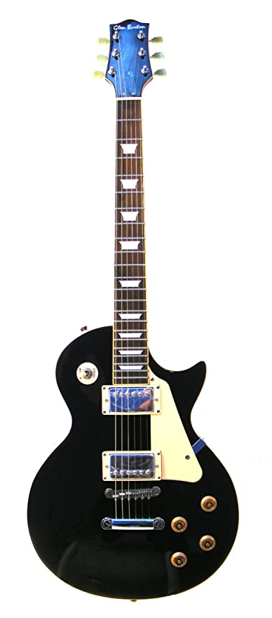 Glen Burton GE320-BKT Classic LP Style Electric Guitar, Black with Tan Pick Guard