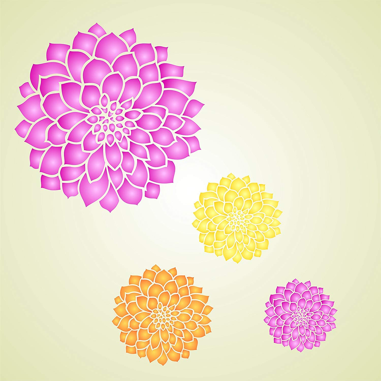 """Dahlia Daisy Bloom Flower Stencil 21/"""" x 21/"""" Mega diy crafting"""