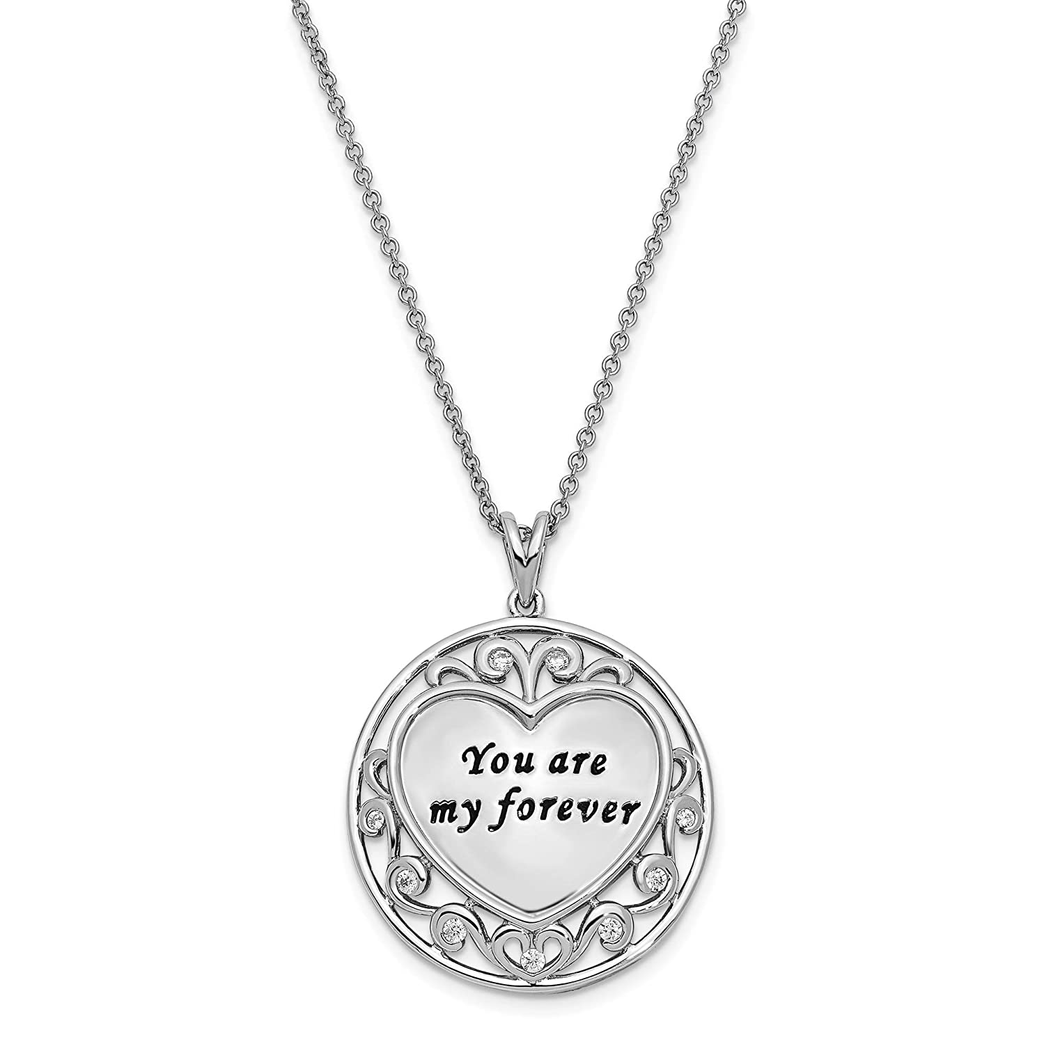 925 Sterling Silver CZ You Are My Forever Circle Pendant Necklace 18 by Sentimental Expressions