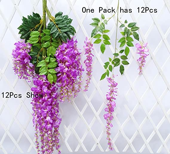 Set de 12 plantas (102 cm) Artificiales Glicinias Seda Colgante Para Decoración Enredadera Flores colgantes Jardín Para Comedor Salón Fiesta Boda(Rojo púrpura): Amazon.es: Hogar