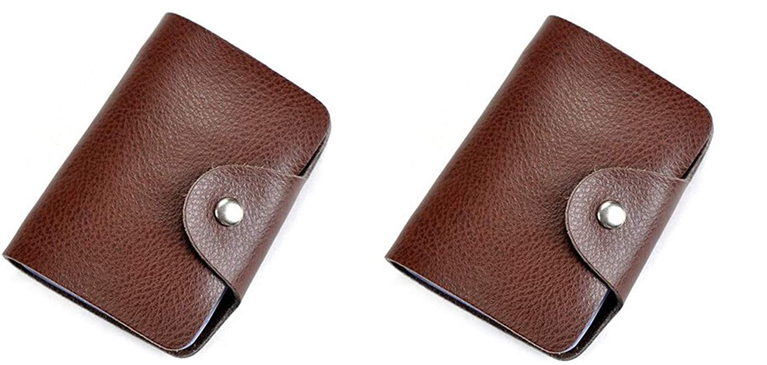Business ID Credit Debit Cards Holder Wallet Case Genuine Leather Pouch Purse