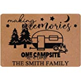 Making Memories One Campsite at A Time Welcome Sign Personalized Name Custom Metal and Wood Plaque Camper Home Wall Decor