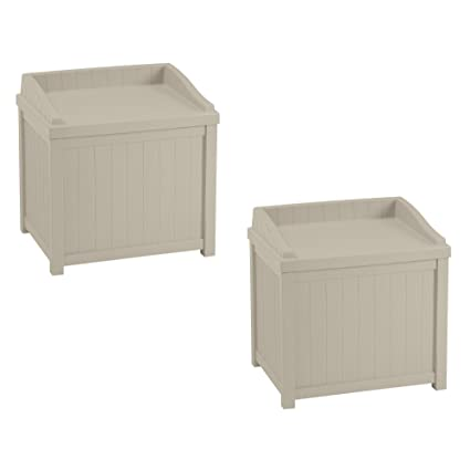 outdoor deck box waterproof suncast 22gallon outdoor deck box with seat light taupe 2 pack amazoncom