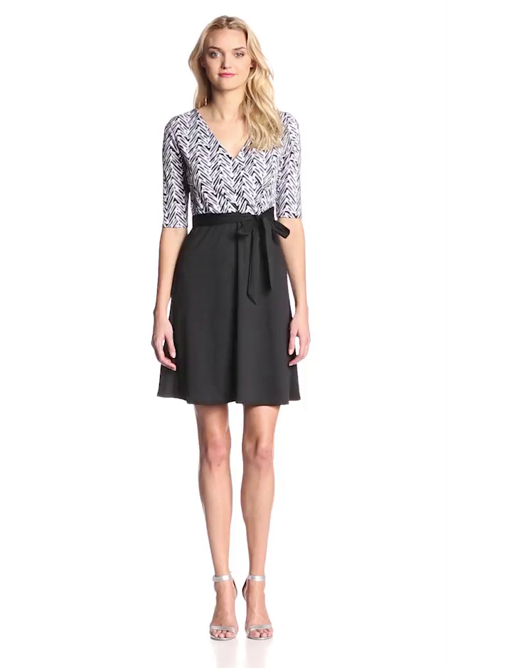 Star Vixen Women's Print Top Solid Skirt Wrap Dress, Black/White Top/Black, Large