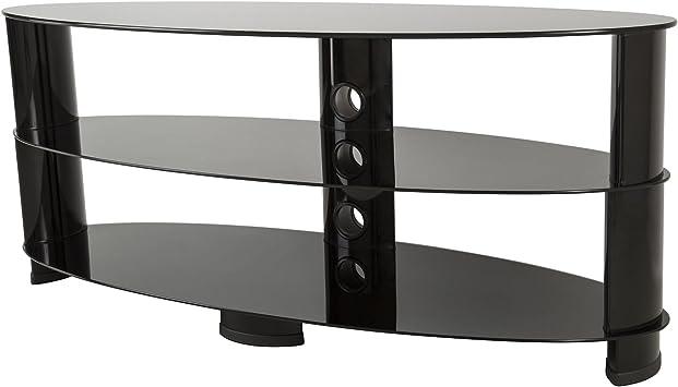 King negro ovalado de cristal soporte para televisores LCD/LED/Plasma TV: Amazon.es: Electrónica