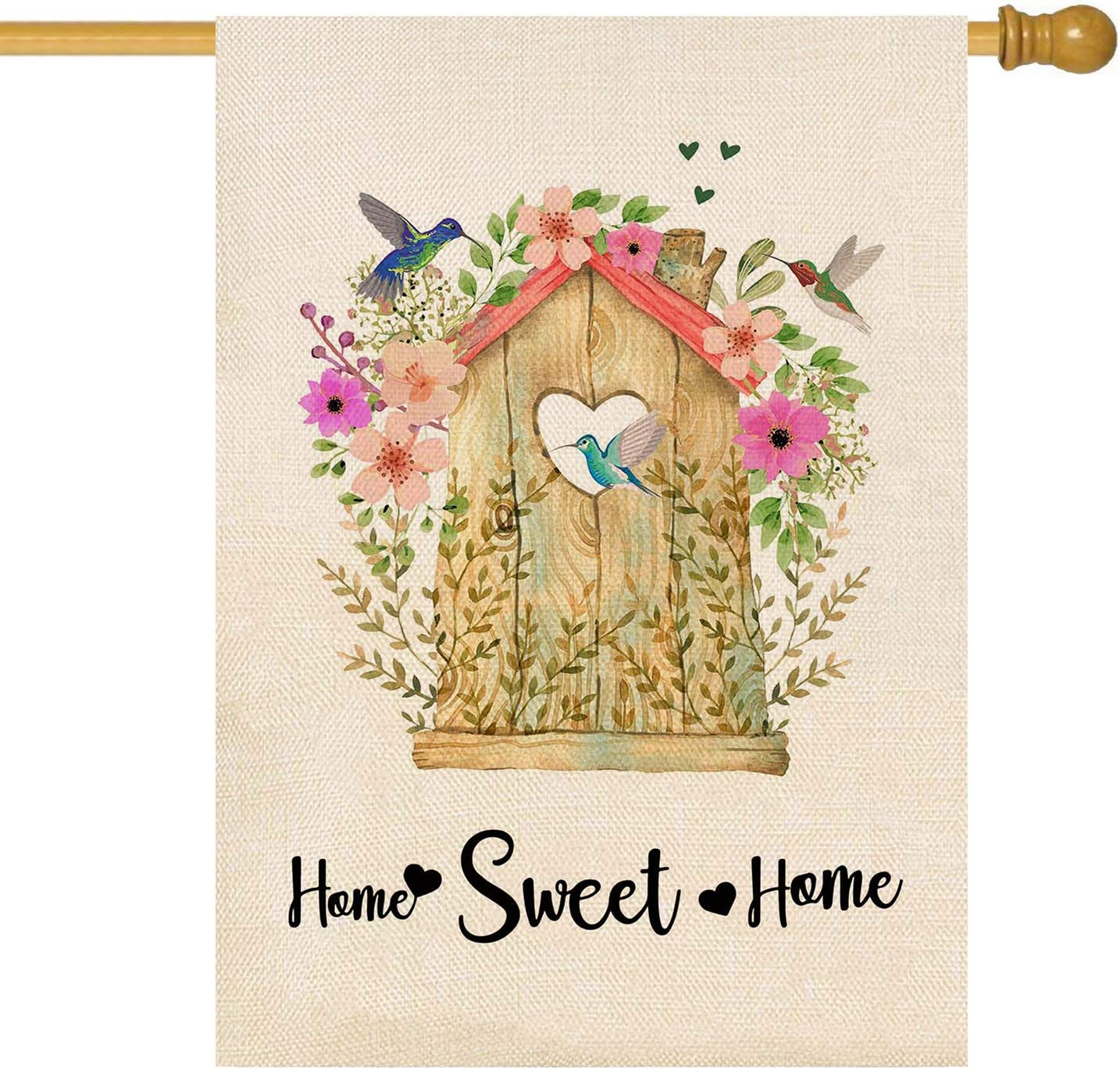ORTIGIA Small Home Sweet Home Garden House Flag Vertical Double Sided,Burlap Wooden Houses and Hummingbirds Yard Flag Flower Home Decor Spring and Summer Welcome Outdoor Decoration 28x40 inch
