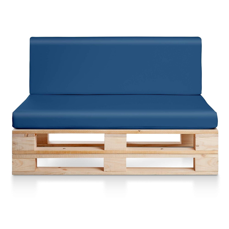 Sofa PALETS Madera para Jardin sin Barniz, Sillón Palet + colchonetas de Jardin, Cojines para pales de polipiel color Azul. Palets Europeos con ...
