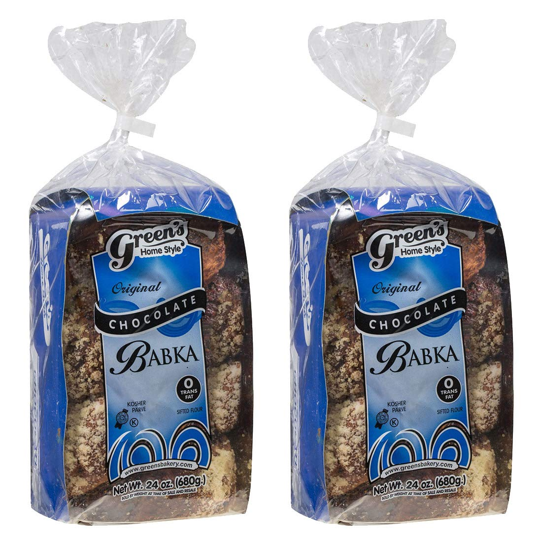 Green's Bakery Traditional Kosher Chocolate Babka, 24 oz - 2 Pack