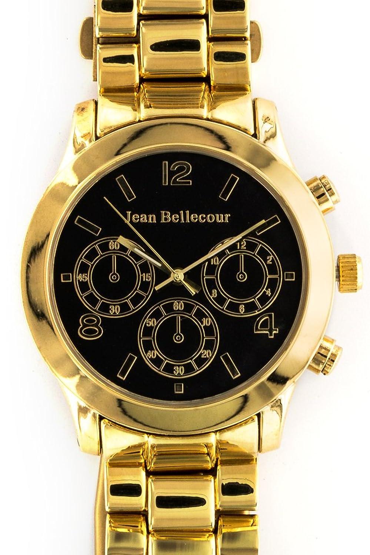 Jean Bellecour – reds10-gb – Armbanduhr – Quarz Analog – Zifferblatt schwarz Armband Stahl vergoldet Gold