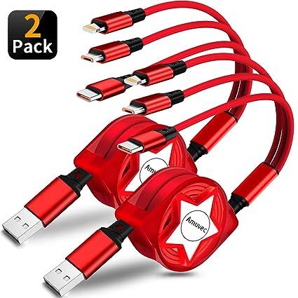 Amazon.com: Amuvec Multi 3 en 1 cable de carga retráctil ...
