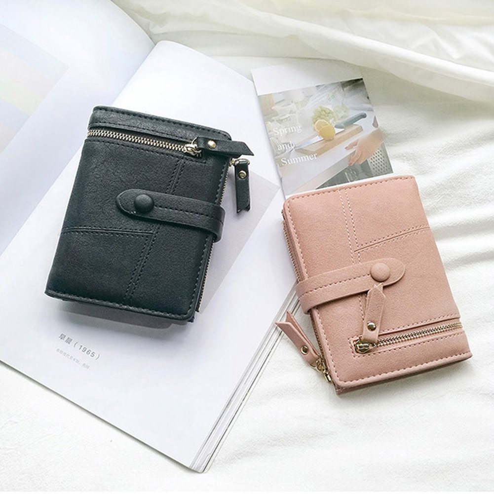 Women Small Wallet RFID Blocking Leather Bifold Card Holder Zipper Coin Purse (Black) by Remidoo (Image #2)