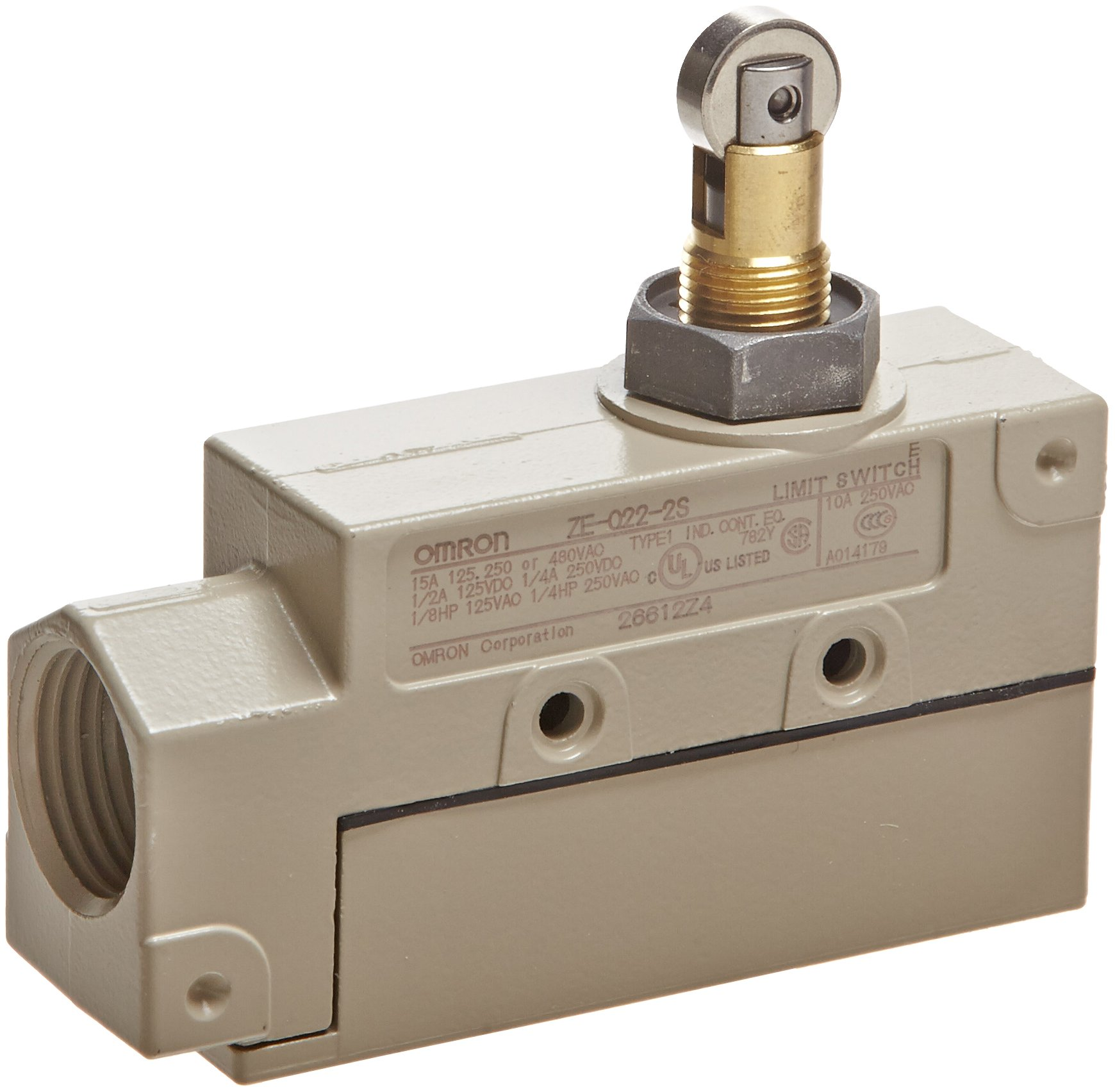 Omron ZE-Q22-2S General Purpose Enclose Switch, High Breaking Capacity and Durability, Roller Plunger, Single Pole Double Throw AC, Side Mounting, 1/2-14NPSM Conduit Size