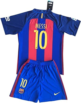 Nikol-Stoilova Messi # 10 FC Barcelona 2016 - 2017 jóvenes Home Kit Camiseta & Pantalones Cortos Azul Marino