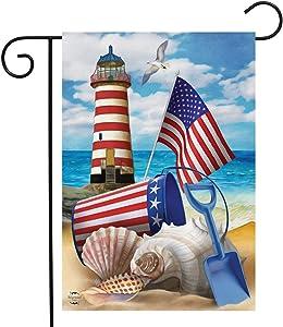 "Briarwood Lane Sea to Shining Sea Patriotic Garden Flag Summer Lighthouse 12.5"" x 18"""