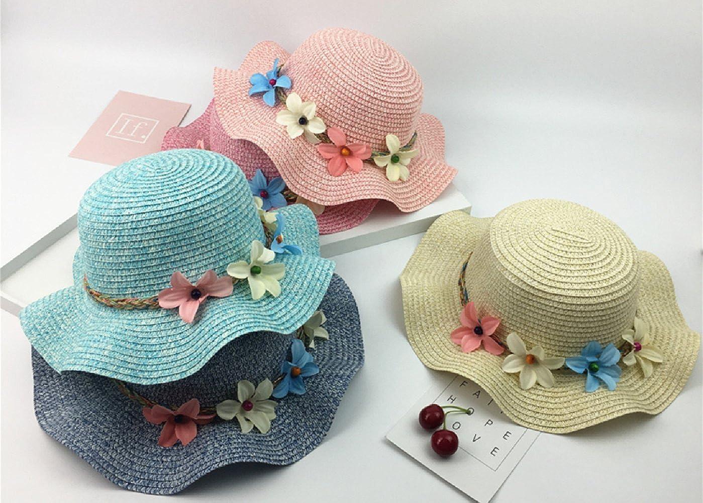 WeiMay Children Girls Colorful Floppy SummerStraw Sunhats Wide Brim Beach Cap