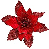 8Pcs Glitter Artificial Christmas Flowers Wedding Wreaths Ornaments Red