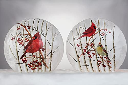 Stony Creek Birch Cardinals Collection Lighted Round Glass Vase, Choice of Style A