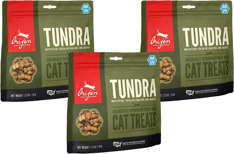 Orijen 3 Pack of Tundra Cat Treats, 1.25 Ounces Each, Freeze-Dried, Grain-Free, Made in The USA